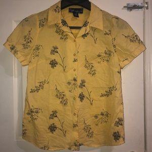 🐝 SUSAN GRAVER flower plant print blouse shirt
